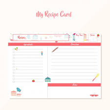 recipe template free coloured recipe template vector free download