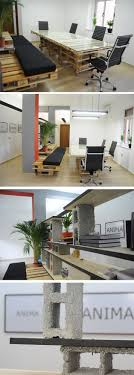 cool office space designs. escritrio mobiliado com pletes e blocos de cimento modern office spacescreative cool space designs s