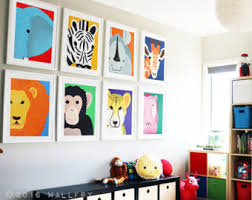 Playroom decor, playroom art, playroom prints. Jungle playroom decor. SET  OF 8