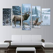 Home Decor Pictures Frame <b>HD</b> Printed Canvas <b>5 Piece</b> Elk Family ...