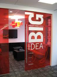 cool office designs ideas. transparent walls are cool but a giant wall logo or core value with quoted paragraph exemplify what is big and that the big idea office designs ideas w