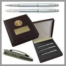 sheaffer 100 brushed chrome 3 piece executive doctor engraved pen set