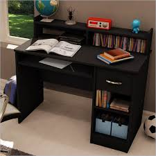 axess pure black computer desk with drawer