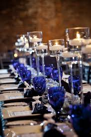 Blue And Gold Table Setting Black White Silver Royal Blue Wedding Bold By Design Banquet