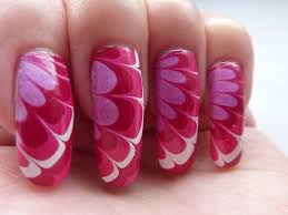 White Red Pink Flower Water Marble Nail Art Design Long Re… | Flickr