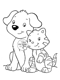 Small Picture Cat and Dog coloring page for kids animal coloring pages