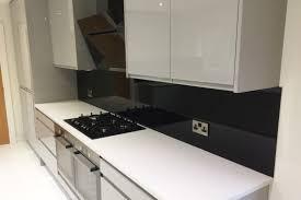 Black Splashback Kitchen Jet Black Glass Splashback Window Sill In Modern Kitchen