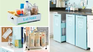 laundry room storage projects including a tray, cart and hamper labels