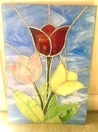 window wall hanging x 1 2 stained glass tulips rustic frame decorative hangings