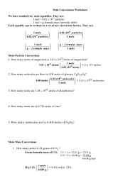 Selected Answers To Mole Conversions Worksheet