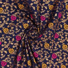 Floral Brocade Blue Golden Pink And Yellow Floral Brocade Silk Fabric 9105