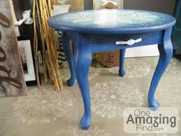 chalk painted sun round side table