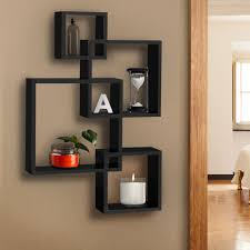 Intersecting Squares Floating Wall Shelf - Black