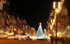 Christmas Lights For Street Lights Christmas Lights City Architecture Celebration Wallpaper