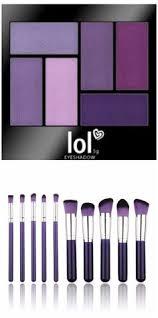 purple pion makeup brushes and purple eye shadow set