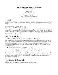 Objectives For Retail Resumes Resume Objectives Retail Objectives