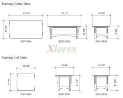 coffee table measurements mm diseño