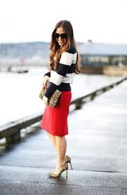 office leopard print. Dress Corilynn Blogger Striped Sweater Red Skirt Office Outfits Leopard Print High Heels Animal Bag