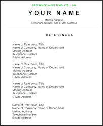 Resume Reference Page Resume Resume Sample References