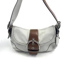 Coach Soho Buckle Flap Ivory w Brown Leather Trim Shoulder Bag  9247 -  ReuseNation