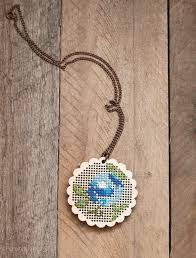 stitched pendant flower cross stitch necklace