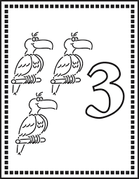 Small Picture Number 3 Or Three Parrots coloring page Free Printable Coloring