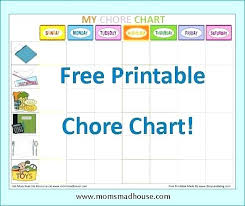 Chore Chart Templates Free Printable Printable Teenage Chore Charts Chart Template Free