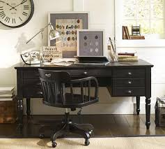 Office Black Desk With Wooden Swivel Chair For Classic Office