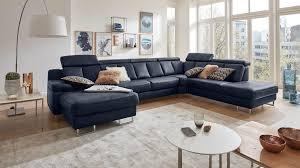 Interliving Sofa Serie 4050 Wohnlandschaft Nachtblaues Longlife Leder Cloudy Nightblue Chromfüße Stellfläche Ca 3