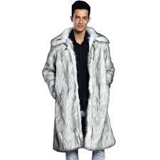 white fur coat mens fur coat long sleeve winter faux fur fox fur white