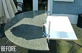 repair granite countertop edge chip fix granite chip ed patio table repair stone has been fitted to plywood support previously how home ideas centre