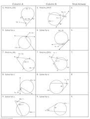 angles in a circle worksheet. angles in circles (using secants, tangents, and chords) partner worksheet - 2 pages a circle c