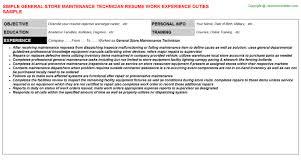 general maintenance resumes general store maintenance technician resume sample