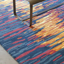 practical blue and orange rug chandra stella grey red wool area close up office