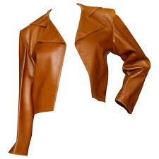 80s yves saint lau brandy colored cropped leather jacket for