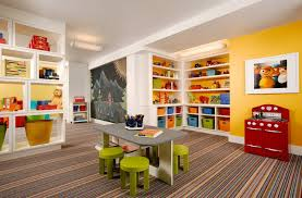 View in gallery Striped carpet in a children's playroom