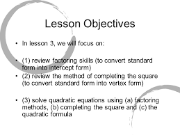 3 lesson objectives