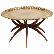 Moroccan Brass Tray Table On Spider Folding Stand 1