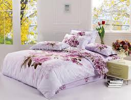 new king size bedding set purple fl quilt cover bed sheet 4pcs set no comforter free