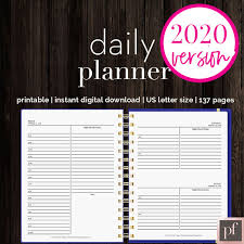 Daily Planner Template 2020 Daily Planner Pretty Fabulous Designs