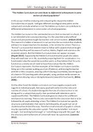 lo essay lo3 sociology in education essay by kirsty champion page 1 ldquothe hidden curriculum