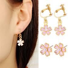 Small Fresh Oil Pink Cherry Imitation <b>Pearl</b> Earrings <b>Korean</b> Version ...
