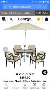 asda haversham garden furniture including parasol