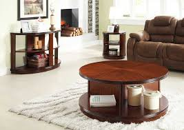 compact furniture. Round Coffee Tables With Storage Made Of Wood Combined Brown Sofa And Side Table Plus Compact Furniture O