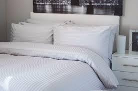 belledorm 540 hotel stripe duvet cover set platinum king size