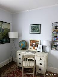 home office pod. Home Office With Vintage Globe, Painted Furniture, Bloggers Gonna Blog Print 4 Pod