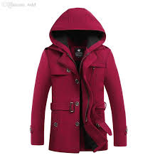 2018 fall 2016 winter mens wool blend hooded trench pea coat camping jacket overcoat for men british style collar hombre brand clothing from wdrf