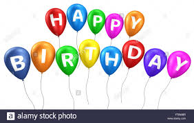 Happy Birthday Sign On Colorful Balloons Concept With Word And