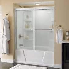 delta lyndall 60 in x 58 1 8 in traditional semi frameless sliding tub door in white with nickel handle niebla glass 171176 the home depot