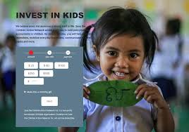 screenshot of save the children action network donation form